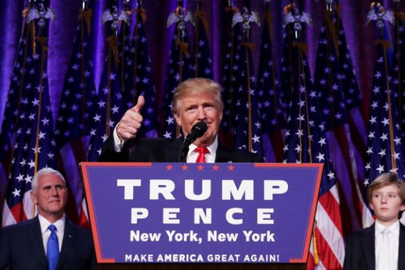 NEW YORK, NY - NOVEMBER 09:  Republican president-elect Donald Trump gives a thumbs up to the crowd during his acceptance speech at his election night event at the New York Hilton Midtown in the early morning hours of November 9, 2016 in New York City. Donald Trump defeated Democratic presidential nominee Hillary Clinton to become the 45th president of the United States.  (Photo by Chip Somodevilla/Getty Images)