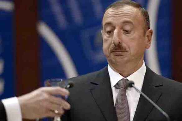 Azerbaijan President Ilham Aliyev  delivers a speech to the Council of Europe parliamentary assembly in Strasbourg, eastern France, on June 24, 2014.  AFP PHOTO/FREDERICK FLORIN