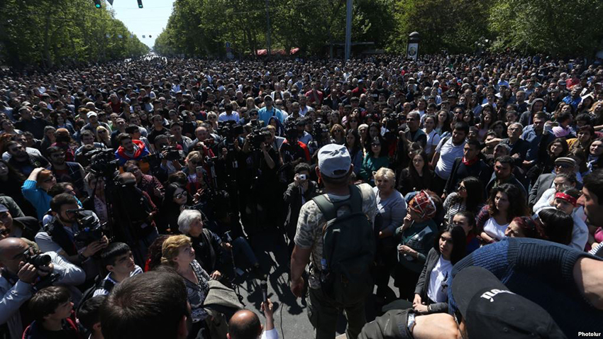 During the fourth day of the protest actions against Armenian former President Serzh Sargsyan's nomination as the Prime Minister of Armenia members of '#merjirserjin' (Reject Serzh) initiative under the leadership of the Armenian MP Nikol Pashinyan closed a number of main streets and avenues of Yerevan, Armenia, 16, April 2018