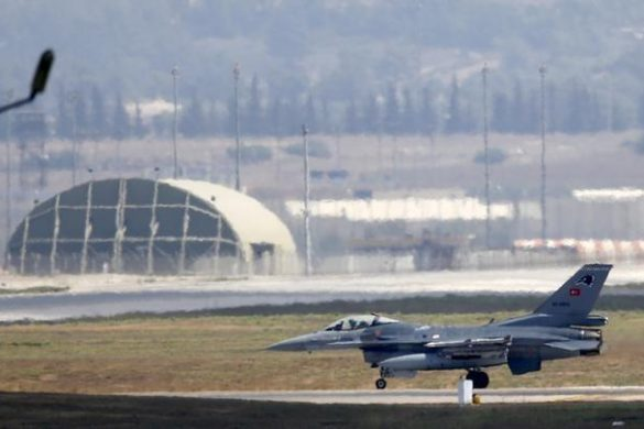 A Turkish Air Force F-16 fighter jet lands at Incirlik air base in Adana, Turkey, August 11, 2015. REUTERS/Murad Sezer