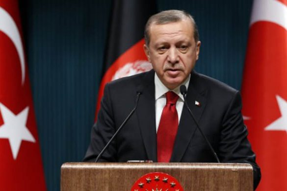 ANKARA, TURKEY - DECEMBER 24: President of Turkey Recep Tayyip Erdogan delivers a speech during the joint press conference with President of Afghanistan Ashraf Ghani (not seen) at Presidential Complex in Ankara, Turkey on December 24, 2015. (Photo by Murat Kaynak/Anadolu Agency/Getty Images)