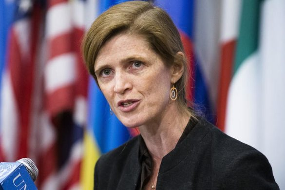 United States U.N. Ambassador Samantha Power speaks to the media following an U.N. Security Council meeting on the Ukraine, Saturday, March 1, 2014, in the United Nations headquarters. (AP Photo/John Minchillo)