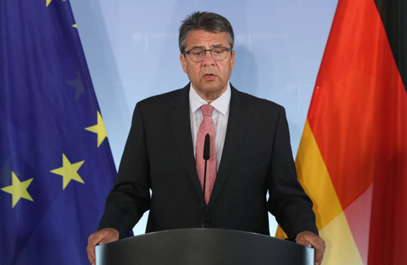 BERLIN, GERMANY - JULY 20:  German Foreign Minister Sigmar Gabriel speaks to the media following the arrest in Turkey of yet another German citizen on charges of supporting terrorism on July 20, 2017 in Berlin, Germany. Turkish police arrested German human rights activist Peter Steudtner along with others working for Amnesty International on July 5. There are now nine German citizens in custody in Turkey on similar charges. Gabriel announced the crages against the nine are unfounded and that the German government is undertaking fundamental changes regarding aspects of its foreign policy towards Turkey as a consequence.  (Photo by Sean Gallup/Getty Images)