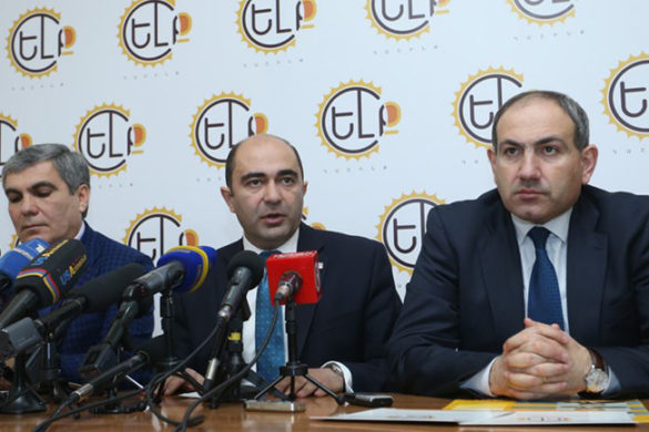 Members of 'Elq' Alliance Edmon Marukyan, Aram Sargsyan and Nikol Pashinyan present pre-election campaign strategy and activities of the alliance at 'Elq' Alliance's headquarters