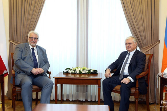 RA Minister of Foreign Affairs Edward Nalbandian received Foreign Minister of Poland Witold Waszczykowski