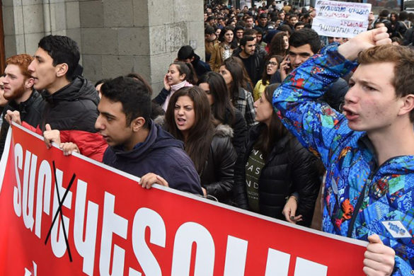 Students of the institutions of higher education hold a strike action against the law on conscription