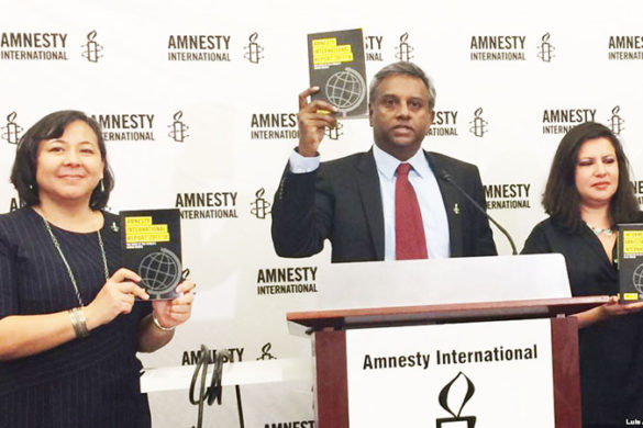 ///  EMBARGOED FOR PUBLICATION UNTIL 0001 EST 0501 GMT THURSDAY, FEB. 22, 2018. The secretary general of Amnesty International, Salil Shetty, second from left, holds a copy of the annual report that the organization released in Washington on Wednesday February 21, 2018. The press conference was also attended, from left, by the executive director of Amnesty International USA, Margaret Huang; the Americas director at Amnesty International, Erika Guevara Rosas; and the director of the Crisis Response Program for Amnesty International, Tirana Hassan.  (AP Photo/Luis Alonso Lugo)  [cid:8251522D-7EEF-498D-BF1B-ECF951F9800F]   [cid:FDCD5B89-1811-4508-AE35-F20C9E6F7C07]   Sent from my iPhone