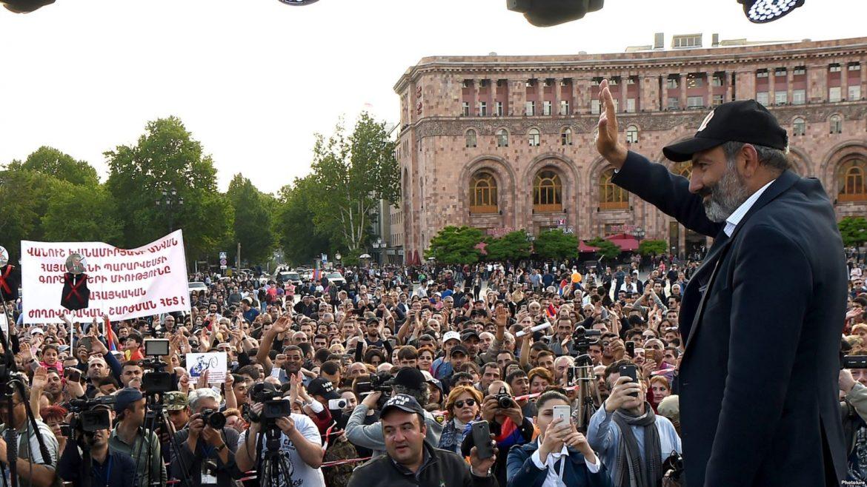 Leader of the opposition Nikol Pashinyan during the 18th day of the 'Velvet Revolution' on Republic Square of Yerevan, Armenia