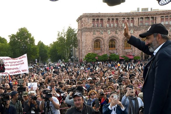 Leader of the opposition Nikol Pashinyan during the 18th day of the 'Velvet Revolution' on Republic Square of Yerevan, Armenia