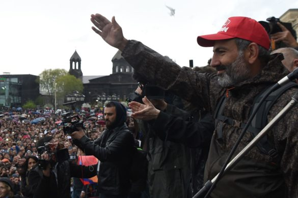 Leader of the opposition Nikol Pashinyan and his supporters continue protest action on Vardanants Square demanding the Republican Party of Armenia (HHK) to appoint people's candidate to the post of the Prime Minister by replacing acting Prime Minister Karen Karapetyan, Gyumri, Shirak Province