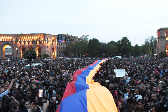 Activists of '#merjirserjin' initiative under the leadership of MP Nikol Pashinyan hold a protest rally against former Armenian president Serzh Sargsyan to the post of Prime Minister on the Republic Square of Yerevan, Armenia, 18 April 2018