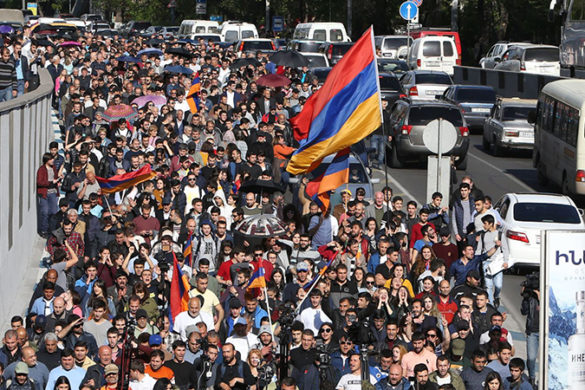 Leader of 'My Step' initiative Nikol Pashinyan and other young activists hold a protest march in Yerevan, Armenia