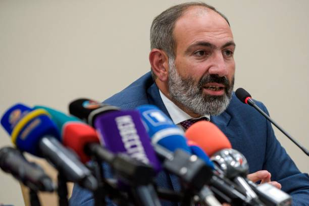Armenian Prime Minister Nikol Pashinyan gives a press conference on May 9, 2018 in Stepanakert, the capital of Azerbaijan's breakaway Nagorny Karabakh region. (Photo by KAREN MINASYAN / AFP)        (Photo credit should read KAREN MINASYAN/AFP/Getty Images)