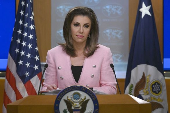 US State Department spokesperson Morgan Ortagus stands at the lectern during a press conference  at the US Department of State in Washington, DC on June 10, 2019. (Photo by ANDREW CABALLERO-REYNOLDS / AFP)