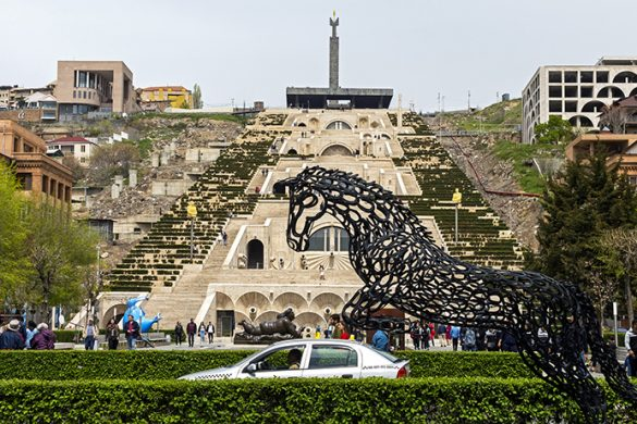 YEREVAN,ARMENIA - APRIL 19,2019:Cascade - a big beautiful staircase and one of the sights of the city of Yerevan,the capital of Armenia, one of the oldest cities in the world.