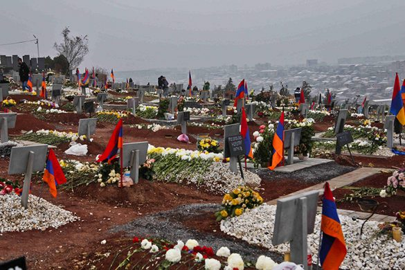 New graves for Armenian soldiers killed in the recent war over Nagorno-Karabakh cover the hillside at Yerablur Military Memorial Cemetery on Nov. 30, 2020. Jack Losh for Foreign Policy