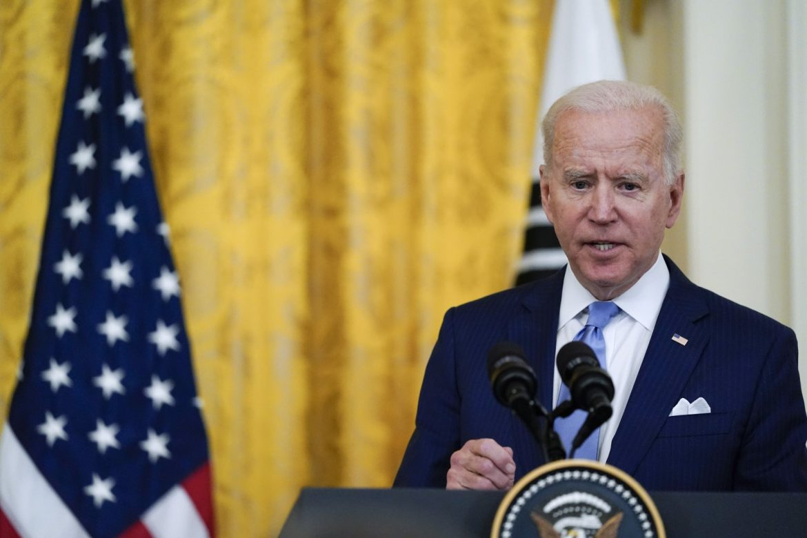 President Joe Biden speaks during a joint news conference with South Korean President Moon Jae-in, in the East Room of the White House, Friday, May 21, 2021, in Washington. (AP Photo/Alex Brandon)