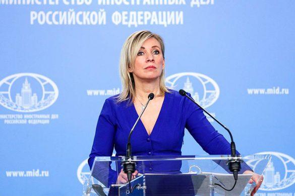 MOSCOW, RUSSIA – FEBRUARY 26, 2021: The Spokeswoman of Russia's Ministry of Foreign Affairs, Maria Zakharova, gives a press briefing on foreign policy issues. Russian Ministry of Foreign Affairs/TASS  Ðîññèÿ. Ìîñêâà. Îôèöèàëüíûé ïðåäñòàâèòåëü ÌÈÄ Ðîññèè Ìàðèÿ Çàõàðîâà âî âðåìÿ áðèôèíãà ïî òåêóùèì âîïðîñàì âíåøíåé ïîëèòèêè. Ïðåññ-ñëóæáà ÌÈÄ ÐÔ/ÒÀÑÑ