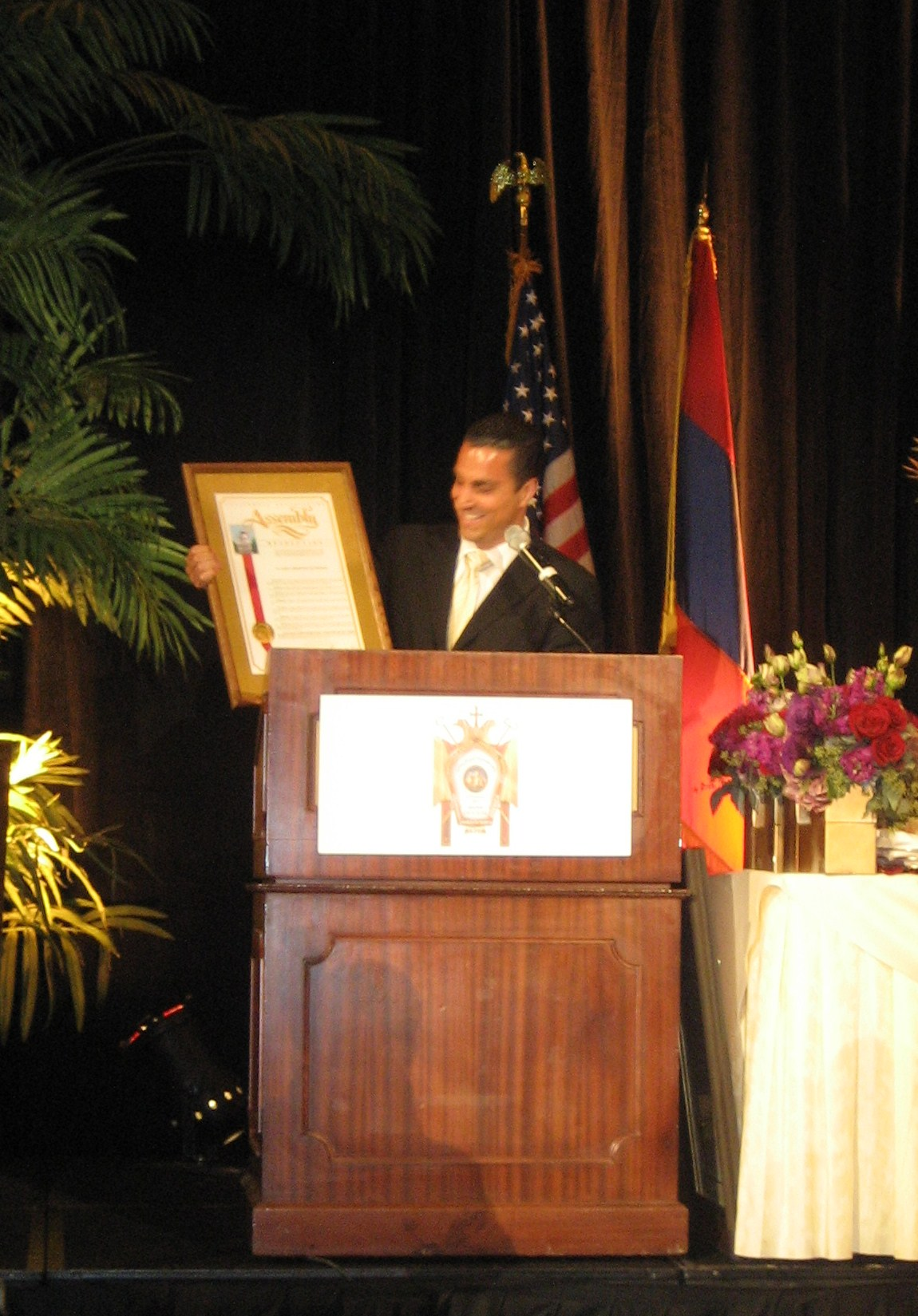 Assemblyman Mike Gatto presenting Resolution honoring the Western Diocese of the Armenian Church St. Leon Cathedral at the celebratory gala banquet.