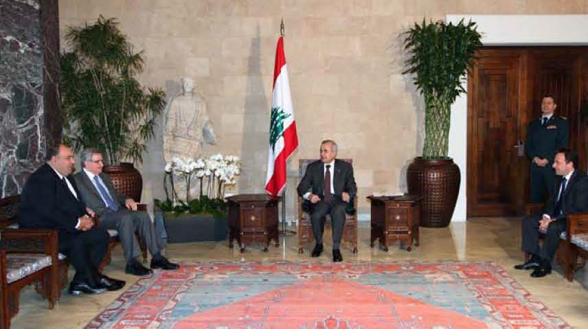 SDHP Parliamentary Delegates; Jean Oghassabian, Sebouh Kalpakian, and Serge Toursarkissian Meet With Lebenese President Michel
