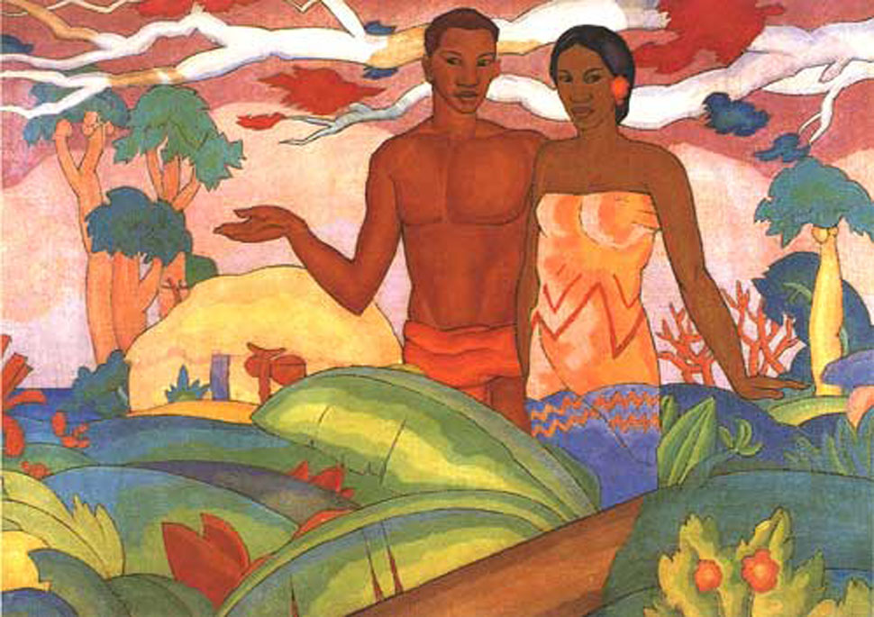 A._T._Manookian,_mural_'Hawaiian_Boy_and_Girl'