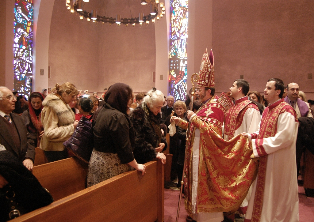 Archbishop Khajag Barsamian presided over the Armenian Christmas service at New York's St. Vartan Cathedral on Friday, Jan. 6.