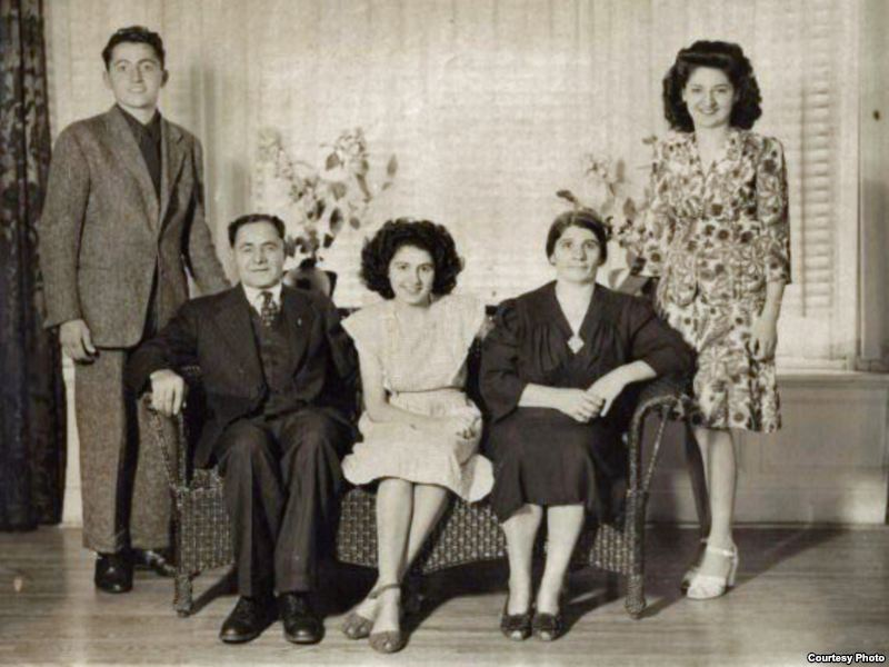 "Armenian ""Titanic"" survivor Neshan Krekorian (seated left) with his wife, Persape (seated right), daughter Angie (center), son George (left), and daughter Alice (right)."