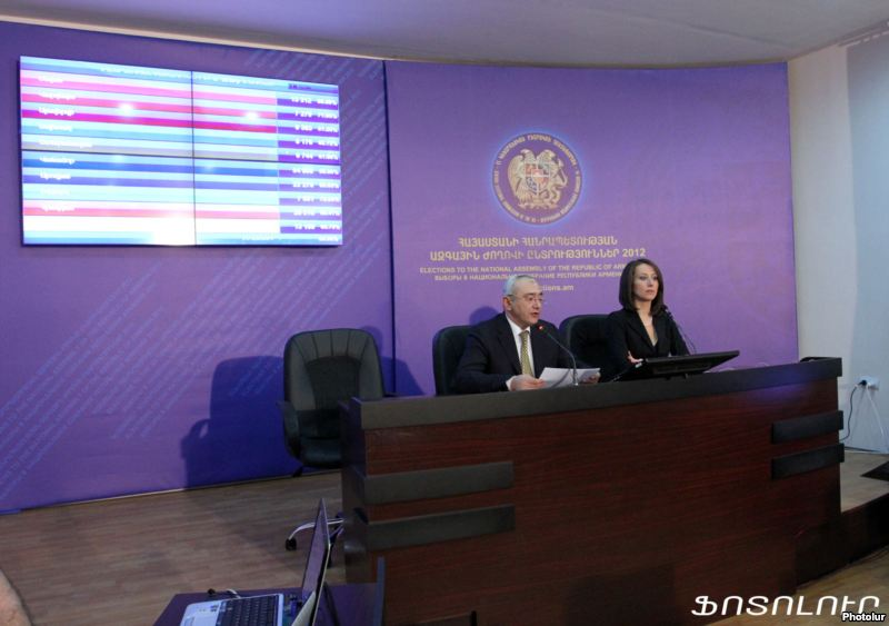 Tigran Mukuchian, chairman of the Central Election Commission, announces first official results of parliamentary elections