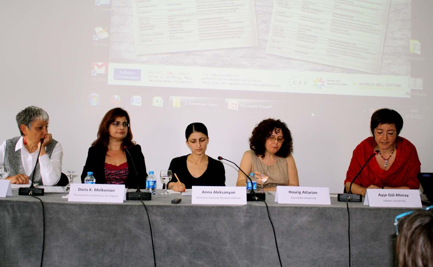"""Gendering the Armenian Genocide"" panelists:  Arlene Avakian, Doris  Melkonian, Anna Aleksanyan, Hourig Attarian, and Ayse Gül Altinay"