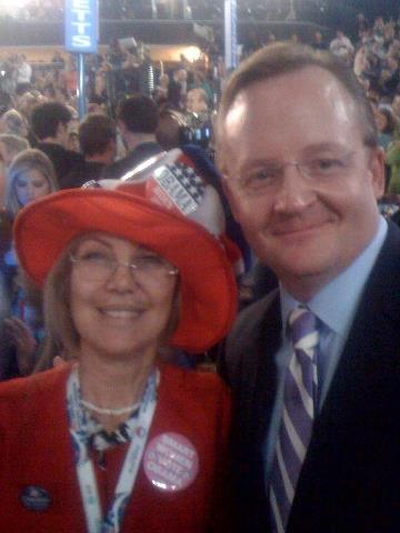 Juliet Minassian the only Armenian American delegate from California at the Democratic Party National Convention with former Whitehouse Press Secretary Robert Gibbs.