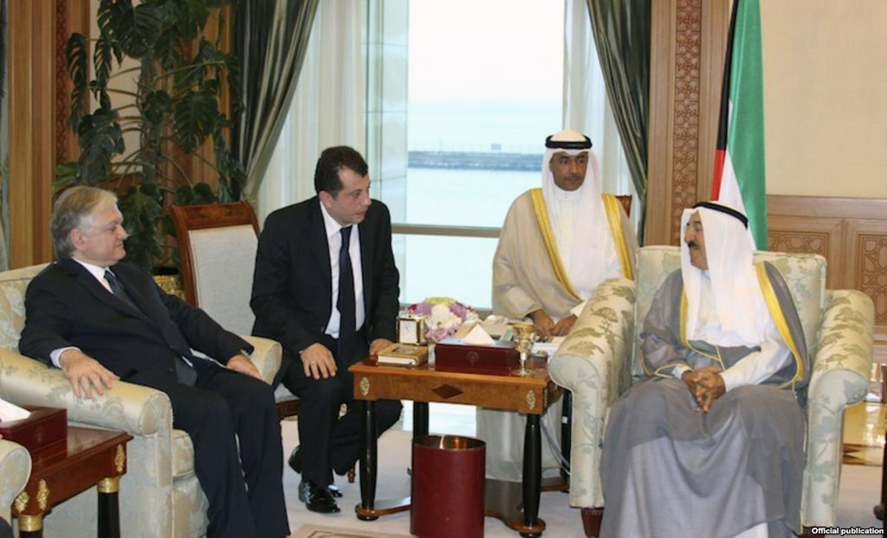 Emir Sabah Al-Ahmad Al-Jaber Al-Sabah (R) meets with Armenian Foreign Minister Edward Nalbandian in Kuwait City