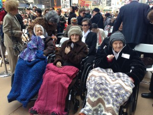 Armenian Genocide survivors (l-r) Perouz Kaloustian, Arshalouis Dadir and Charlotte Kechejian, present at the Times Square Commemoration