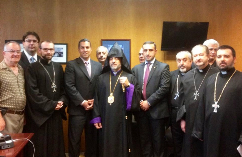 H.E. Archbishop Derderian along with community leaders with Assemblymember Gatto (D-Los Angeles).
