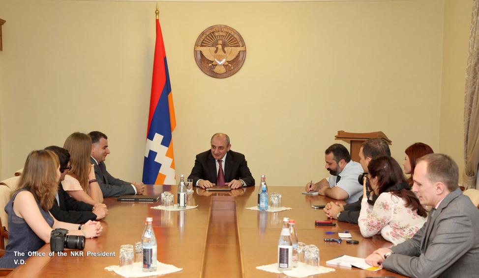 The Russian visitors meeting with  NKR president Bako Sahakian