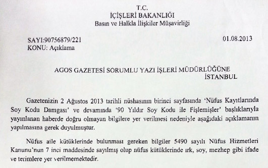 Turkey's Interior Ministry's statement sent to Agos newsppaer