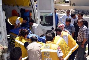The body of Turkish shepherd transferred to an ambulance
