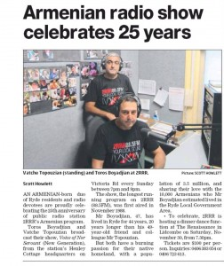 Article praising The Voice of Nor Serount - 27 Nov 2013 Article - Northern Districts Times, Sydney NSW.