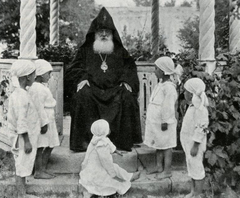 His Holiness Catholicos Gevorg V Sureniants at Etchmiadzin with Armenian orphans