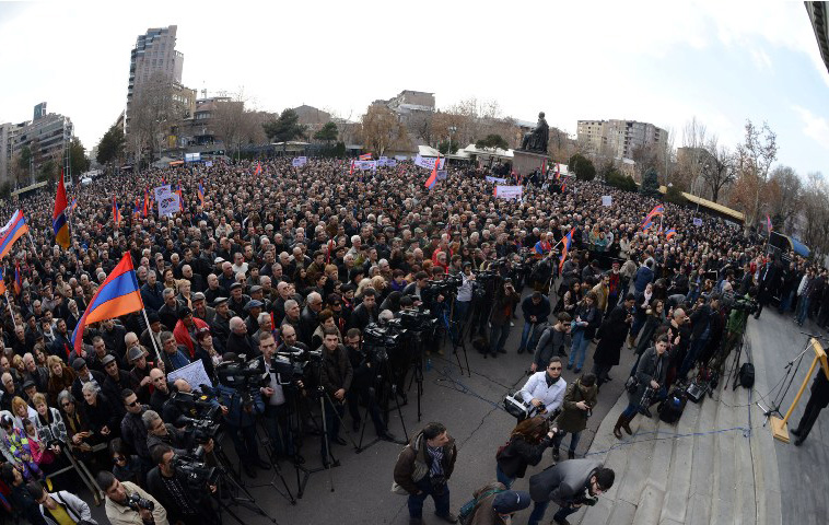 Armenian National Congress and Armenian People?s Party hold a rally on Freedom Square in Yerevan