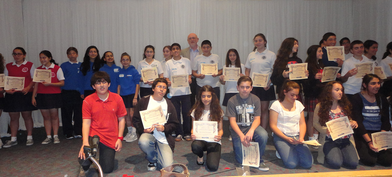 Quiz Bowl contestants from 8 Armenian schools with their certificates