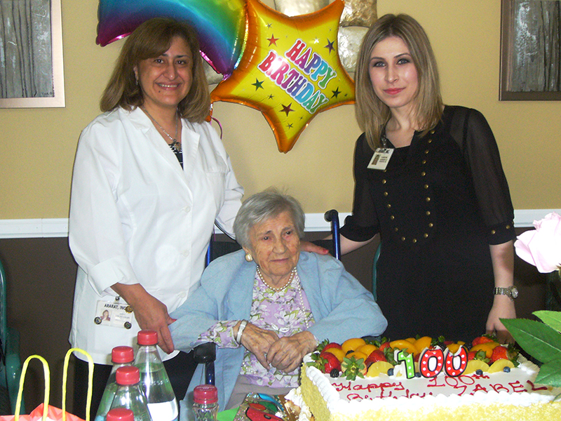 Zabel Krikorian turns 100 - Aida Yeghiayan, Director of Nursing, and Administrator Varsenik Keshishyan