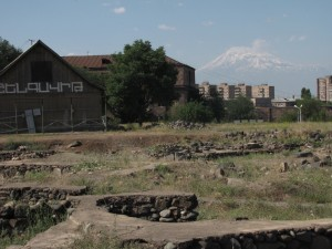Shengavit Preserve, museum, Mt. Ararat in background