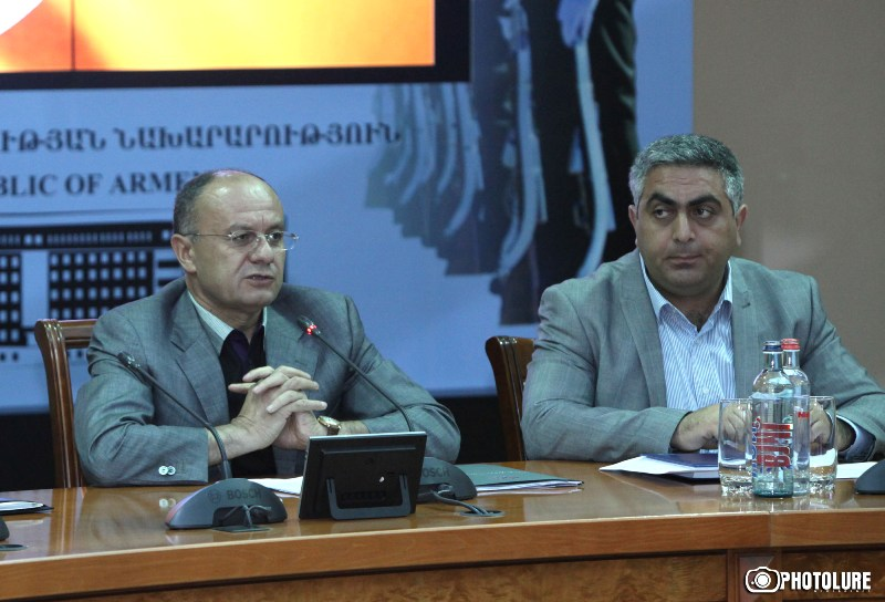 RA Minister of Defense Seyran Ohanyan gives a press conference at the administrative complex of the RA Ministry of Defense