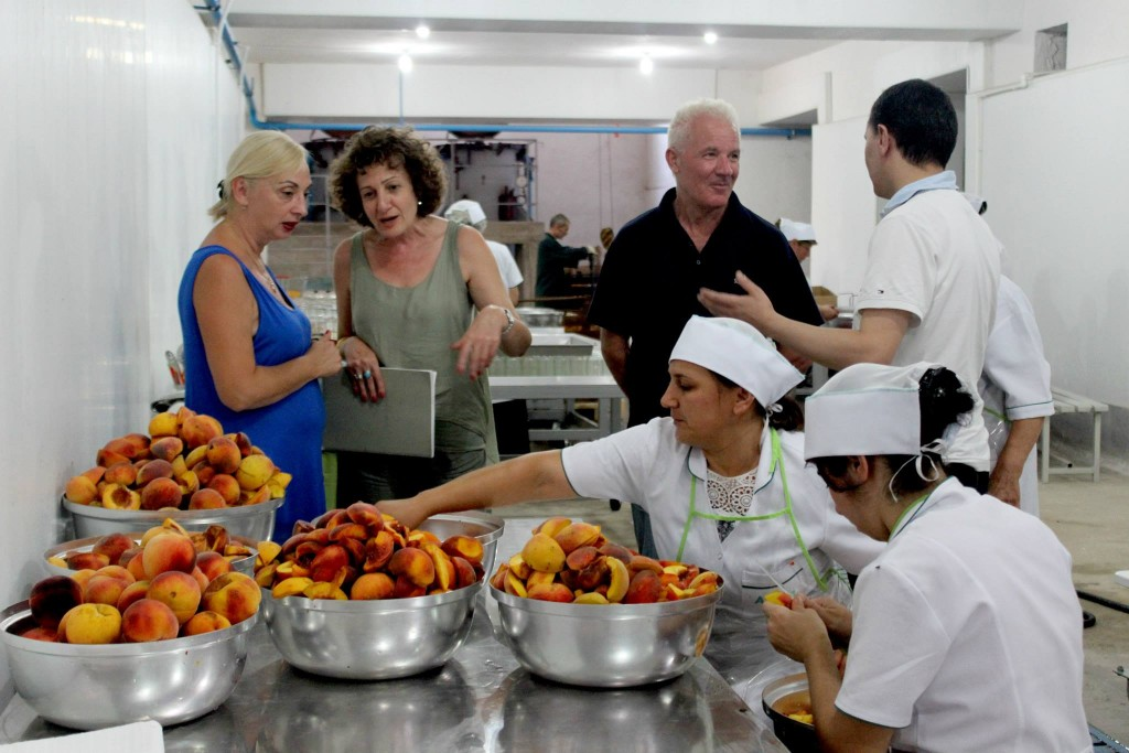 Oxfam in Armenia Country Director Margarita Hakobyan (center) visits workers at the Ayrum Fruits factory prior to its grand openin