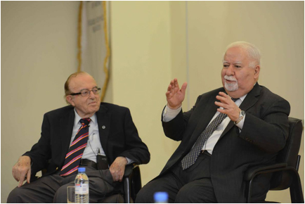 "Scholars Dr. Mihran Agbabian and Vartan Gregorian share the stage at AUA's Manoogian Hall for a talk entitled ""Conversation with Two Great Men of Education"