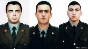 The pilots Armenian military helicopter shot down near Nagorno-Karabakh on November 12, 2014: Major Sergey Sahakian (L), Lieutenant Azat Sahakian, Senior Lieutenant Sargis Nazarian.