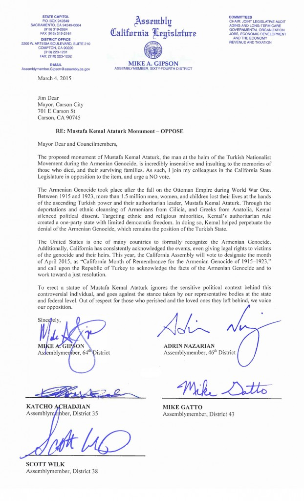 Letter to Carson City Council by Assemblymembers Gipson, Achajian, Gatto, Wilk and Nazarian