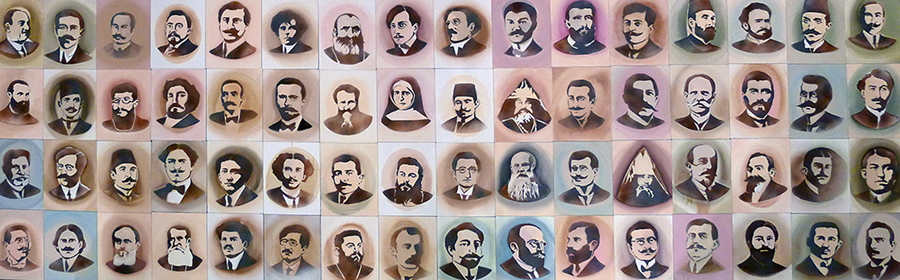 """This is a segment from a collection of portraits by artist Nalan Yirtmaç of 100 Ottoman Armenian intellectuals who were arrested and taken to concentration camps on April 24, 1915, created for the exhibition """"Without knowing where we are headed…"""""""