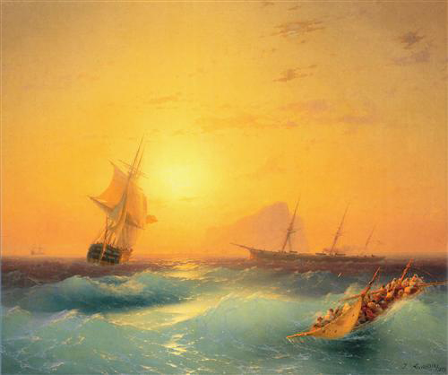 Aivazovsky-American shipping off the Rock of Gibraltar