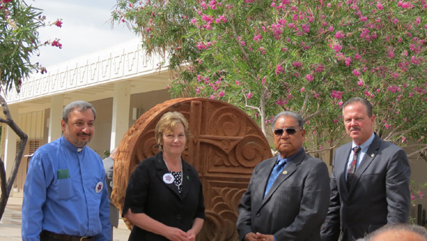 Rev. Fr. Zacharia Saribekyan, Parish Priest of St. Apkar Armenian Apostolic Church; Dr. Jan Gehler, President of Scottsdale Community College; President Delbert Ray of the Salt River Pima-Maricopa Indian Community; and Jim Lane, Mayor of the City of Scottsdale